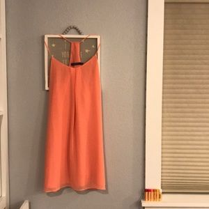 Salmon colored babydoll mini dress